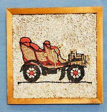 Vtg Kitsch Gravel orange Car handmade MCM 60s Pebble Wall Decor Retro Wood frame