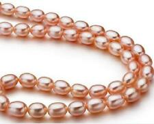 """18""""10-12mm natural south sea pink pearl necklace 14K DA39"""