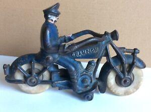 "1930's cast iron Champion Harley Davidson police motorcycle 7"""