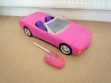 BARBIE LARGE HOT PINK CONVERTIBLE CORVETTE REMOTE CONTROLLED CAR WORKING LIGHTS