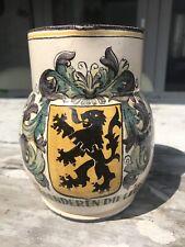 Ceramic Handmade Jug Art Pottery Belgium Lion Vlaanderen Leeuw België Vintage