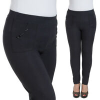 Ladies Plus Size Black Pants Pockets Elegant Stretchy Slim Fit Trousers W18-018