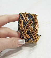 Vintage Braided Boho Bronze Brown and Blue Beaded Memory Wire Cuff Bracelet
