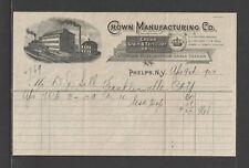 1903 CROWN MANUFACTURING { GRAIN & FERTILIZER DRILL } PHELPS NY FANCY BILLHEAD