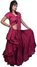 Burgundy Jaipur Belly Dancers 25 yard Cotton Skirt - sariskirts