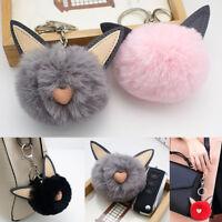 Soft Fluffy Plush Ball Cat Ear Key Chain Pompom Handbag Car Key Ring Accessories