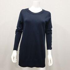Akris Punto Crew Neck Pullover Sweater Button Accent Navy Dark Blue M 100% Wool