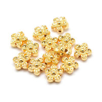 10pcs Gold-Filled Alloy Flower Beads Carved Loose Spacer Unfading Beading 9x5mm