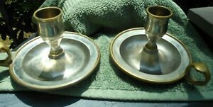 Lot of 2 Vintage Brass Candle Stick Holders w/ Finger Loop & Thumb Rest