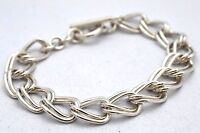 Taxco Mexican 925 Sterling Silver Double Link Chain Bracelet. 31 grams