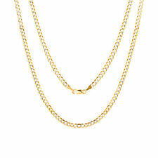 """Solid 14K Yellow Gold 3mm Diamond Cut White Pave Curb Cuban Necklace Chain 20"""""""