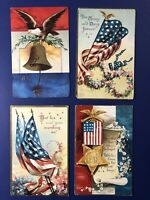 E. Clapsaddle 4 Patriotic Antique Postcards. 1900s. Collector Items Nice w Value