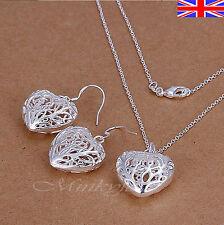 "Silver 925 Sterling Necklace Earrings Set Heart Drop Dangle 18"" Free Gift Bag"