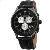 New Men's Akribos XXIV AK863BK All Black Dial Chronograph Leather Strap Watch