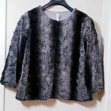 NY Collection Size M Black and Gray Faux Chinchilla Fur Jacket Cape Swing Coat
