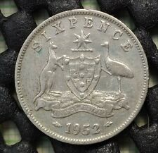 1952 Australia Silver Sixpence KM# 45 - key date coin!