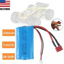 7.4V 1500mAh 18650 2S Lipo Battery T-Plug For WLtoys RC Buggy Truck Boat Power