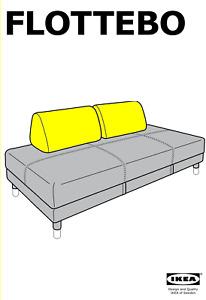 2x IKEA Cushion Covers for Flottebo Sleeper Sofa, Gunnared medium gray