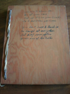 Vintage Wooden Handcrafted Guest Book w/Leather Bindings