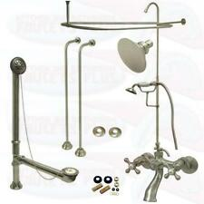 Satin Brushed Nickel Clawfoot Tub Faucet Kit W/Shower Riser, Enclosure , & Drain