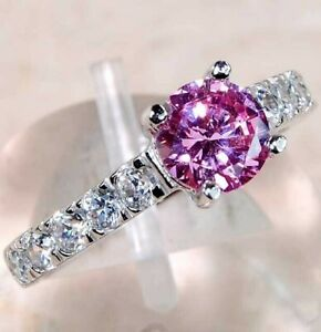 Top Quality 1CT Pink Sapphire & Topaz 925 Sterling Silver Ring Jewelry Sz 6, M4