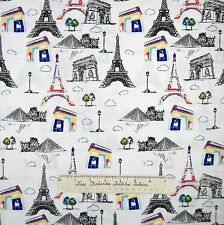 Pepe in Paris Fabric - Eiffel Tower Louvre Arc de Triomphe - Riley Blake YARD