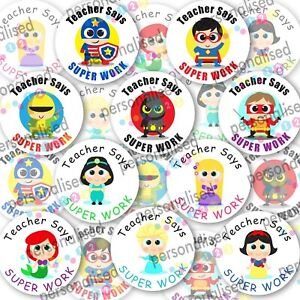 Personalised Reward Stickers Well Done Labels Princess Superheroes Teacher Gloss