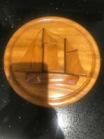 VINTAGE ROUND CHOPPING BOARD NAUTICAL PLAQUE SHIPS WALL HANGING
