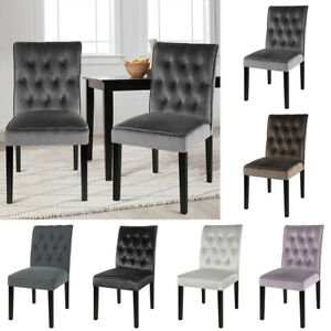2X Velvet Fabric Dining Chair Accent Side Chair Padded Seat Button Back Office