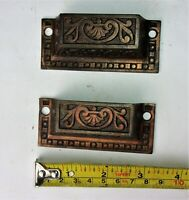 2 Matching Antique Victorian Eastlake Ornate Cupboards Drawer Pulls Handles