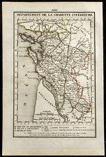 1823 - Carte de la Charente inférieure (Charente-Maritime) / Xavier Girard