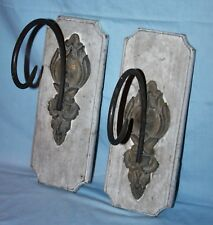 Pair Architectural Wood Wall Sconce Metal Hooks Garden