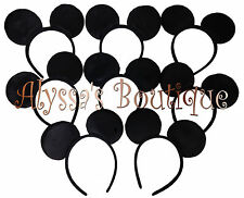 20 pc Mickey Mouse Ears All Black Plush Headbands Birthday Favors Minnie Costume