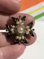 "Crown Black with Pearls Gold Pin Brooch D-3037  ""as is"""