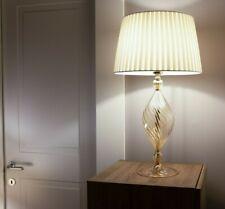 Lampada da Tavolo Elegante in Vetro di Cristallo Soffiato Ambra con Paralume