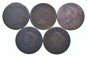 Lot of 5 1817-1857 Early US Large Cent - Dateless - History You Can Hold! *604
