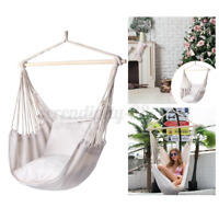 350LB Portable Hanging Chair + Rod Swing Hammock Porch Patio Yard Seat Camping