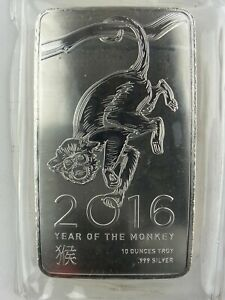 NTR 2016 10 Oz .999 FINE SILVER BAR. Year of The Monkey