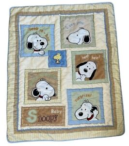 VINTAGE Baby Snoopy Lambs & Ivy quilt blanket boy girl green yellow nursery