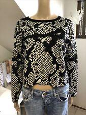 VERONIKA MAINE Size Medium Black White Wool Blend Soft Knit Jumper Ex Cond