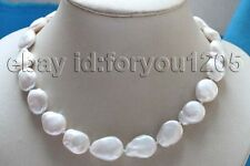 "reborn Keshi Pearl Necklace #f3006! 17"" Genuine Natural 20mm White Baroque"