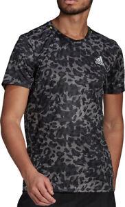 adidas Fast PrimeBlue Graphic Short Sleeve Mens Running Top- Grey
