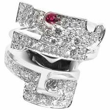 Cubic Zirconia Solid 925 Silver Fashion Ring Le Baiser Du Dragon 2.10ct Ruby &