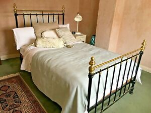 Original Brass & Cast Iron Small Double (4') Bedframe with Slatted Base