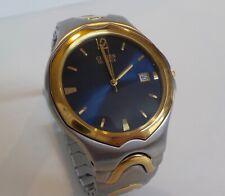 Nice Vintage Citizen Quartz Watch New Battery Blue Dial Gold Bezel 2510-S76191