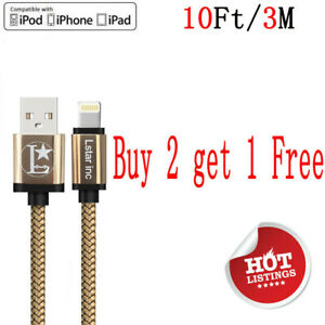 10Ft Charging Cable Heavy Duty For iPhone X XS 8 7 6 Plus Charger Charging Cord