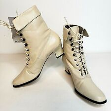 NEW Ros Hommerson Womens 6.5N Boots Beige Steampunk Granny Ankle Leather Cream