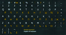 Russian English Non Transparent Keyboard Stickers Black