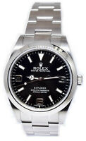 Rolex Explorer Stainless Steel Black Dial Mens 39mm Watch / Box 214270