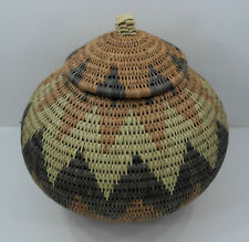 Native American Woven Basket With Lid